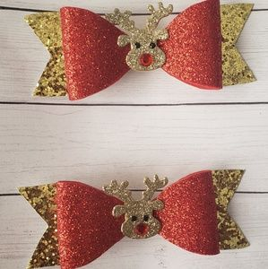 Holiday reindeer bows set of 2